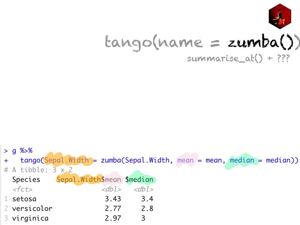 tango(name = zumba()) summarise_at() + ???
