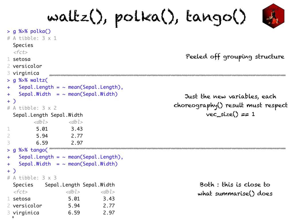 waltz(), polka(), tango() Peeled off grouping s...