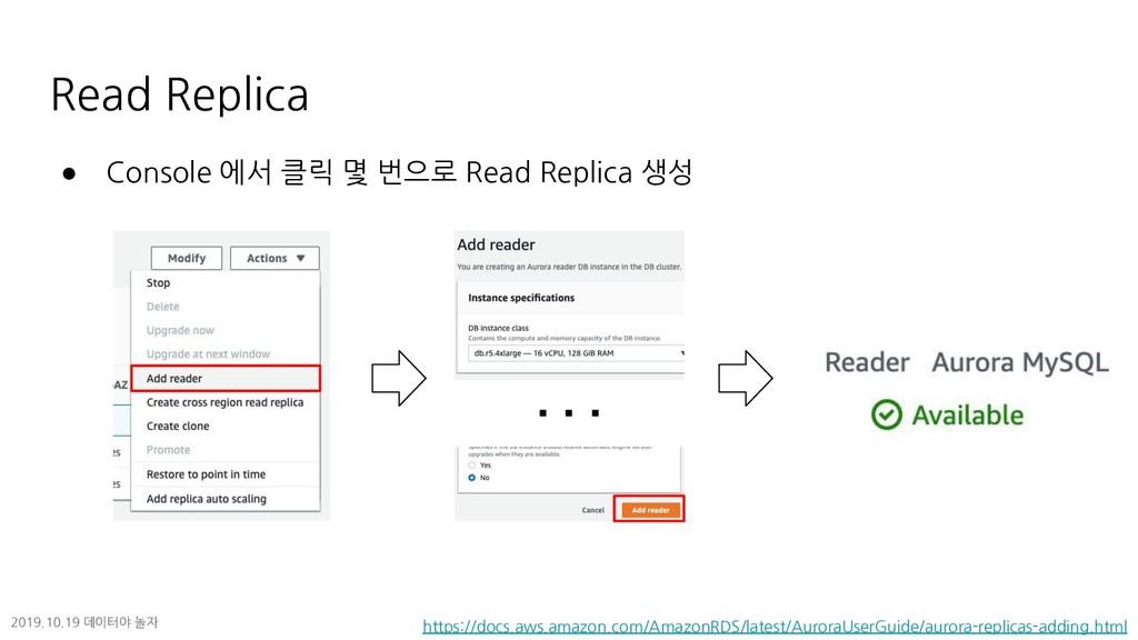 Read Replica ● Console 에서 클릭 몇 번으로 Read Replica...