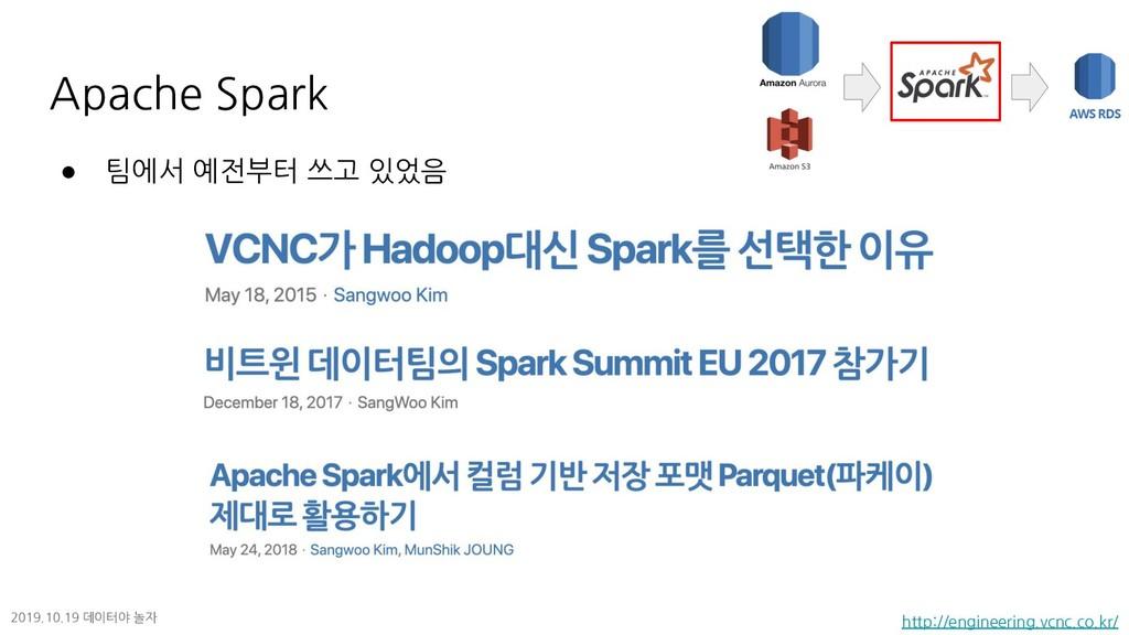 ● 팀에서 예전부터 쓰고 있었음 Apache Spark http://engineeri...