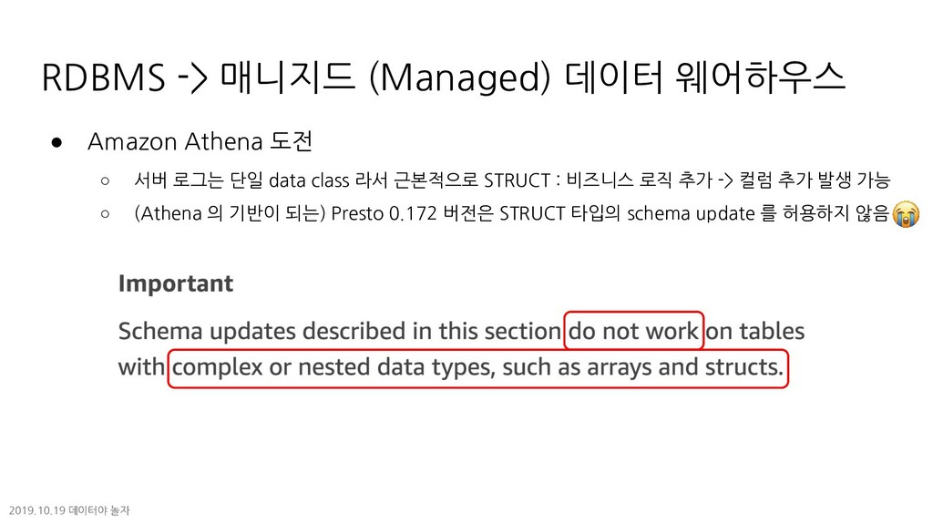 RDBMS -> 매니지드 (Managed) 데이터 웨어하우스 ● Amazon Athe...