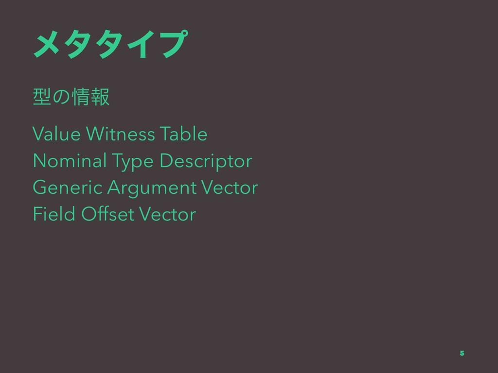 ϝλλΠϓ ܕͷใ Value Witness Table Nominal Type Des...