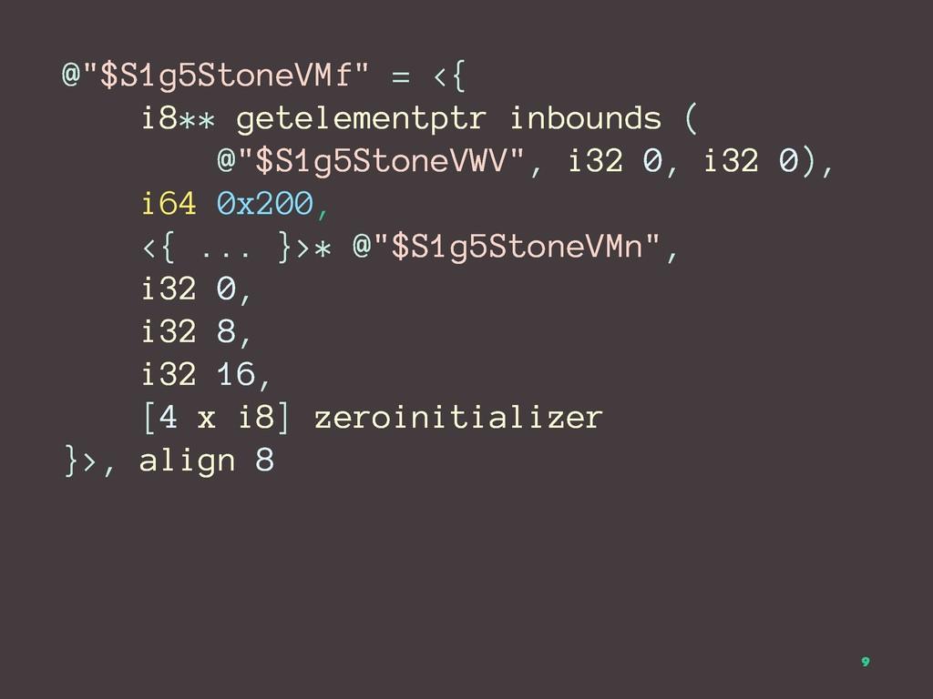 """@""""$S1g5StoneVMf"""" = <{ i8** getelementptr inboun..."""