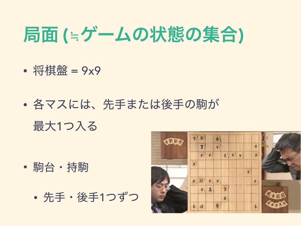 ہ໘ (≒ήʔϜͷঢ়ଶͷू߹) • কع൫ = 9x9 • ֤Ϛεʹɺઌख·ͨޙखͷ͕ۨ...