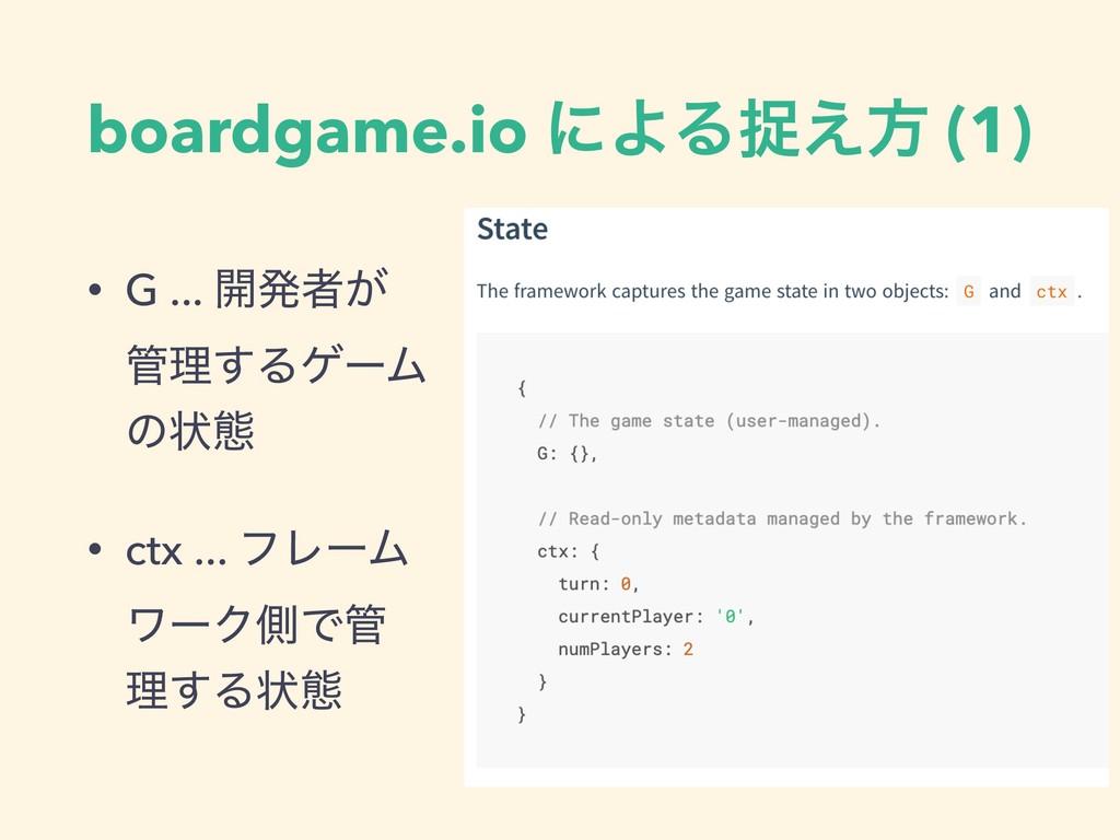 boardgame.io ʹΑΔଊ͑ํ (1) • G ... ։ൃऀ͕ ཧ͢ΔήʔϜ ͷঢ়...
