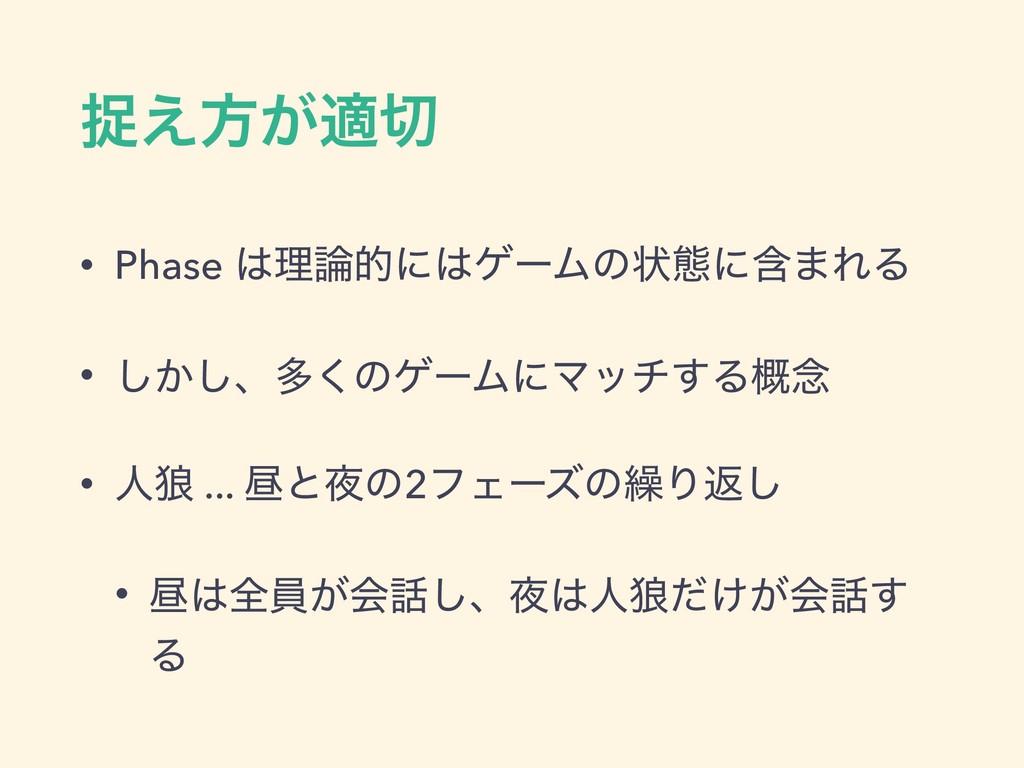ଊ͑ํ͕ద • Phase ཧతʹήʔϜͷঢ়ଶʹؚ·ΕΔ • ͔͠͠ɺଟ͘ͷήʔϜʹϚ...