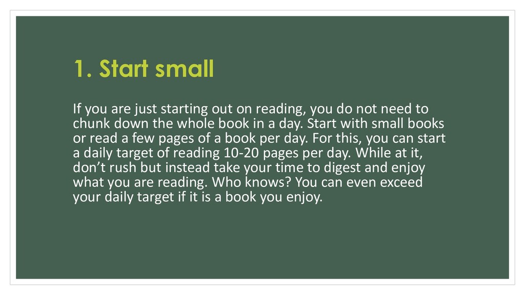 1. Start small If you are just starting out on ...