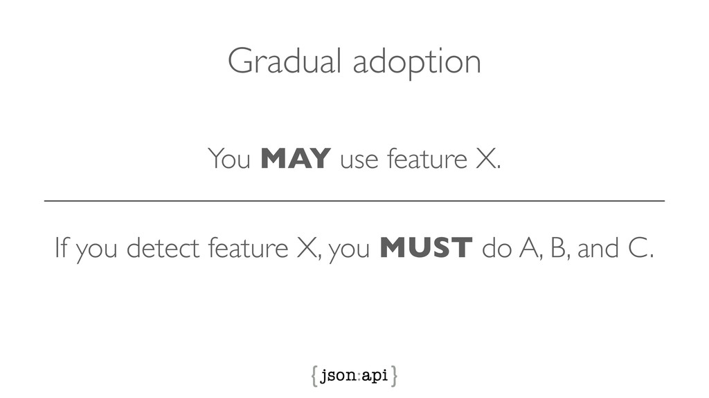 You MAY use feature X. Gradual adoption If you ...