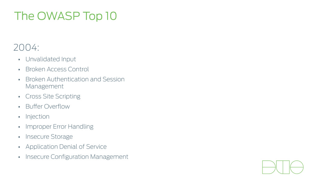The OWASP Top 10 2004: • Unvalidated Input • Br...