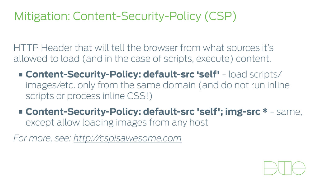 Mitigation: Content-Security-Policy (CSP) HTTP ...