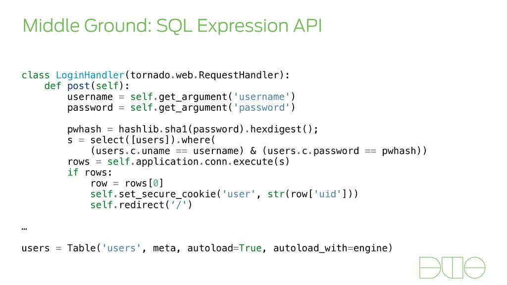 Middle Ground: SQL Expression API class LoginHa...