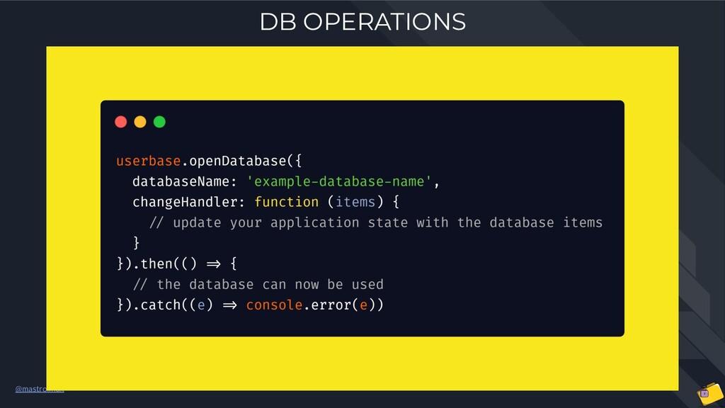@mastrolinux DB OPERATIONS