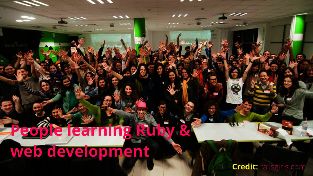 People learning Ruby & web development Credit: ...