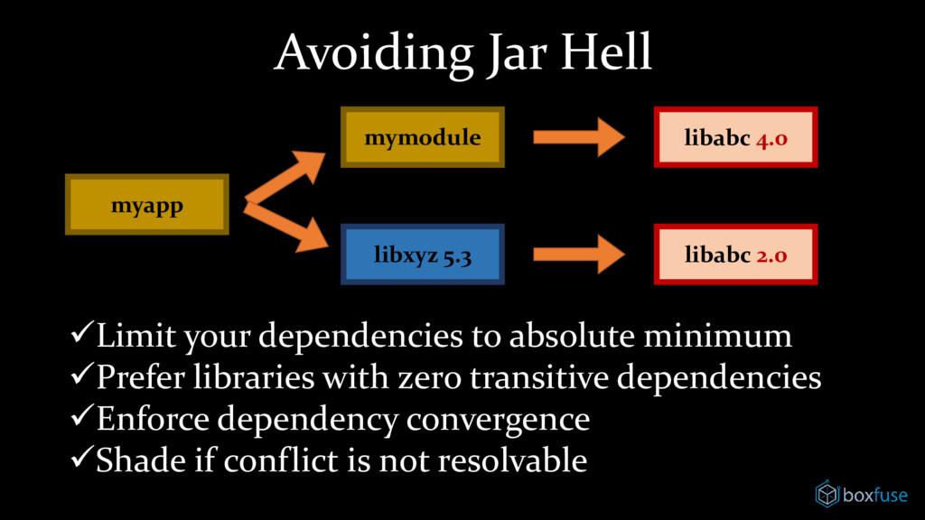 Avoiding Jar Hell myapp libxyz 5.3 libabc 4.0 m...