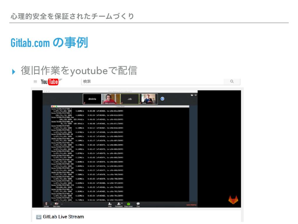 ৺ཧత҆શΛอূ͞ΕͨνʔϜͮ͘Γ Gitlab.com ͷྫ ▸ ෮چ࡞ۀΛyoutube...