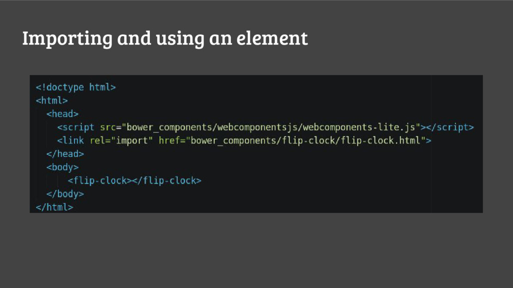 Importing and using an element