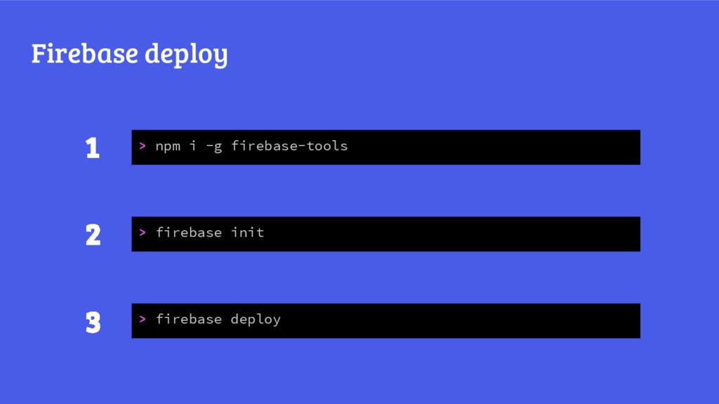 Firebase deploy > npm i -g firebase-tools > fir...