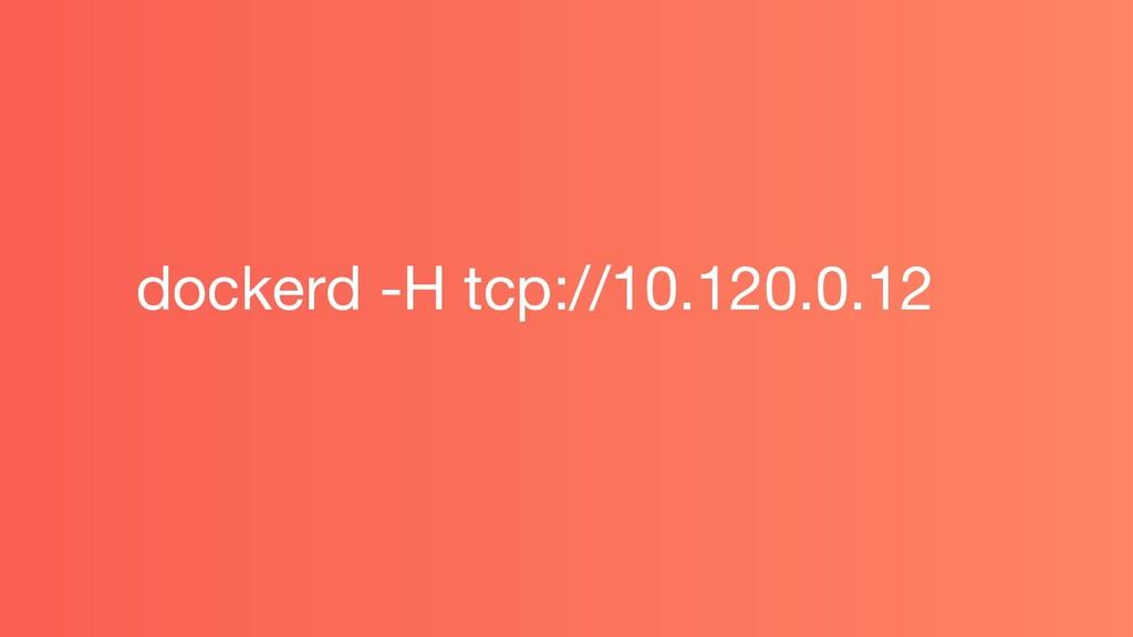 dockerd -H tcp://10.120.0.12