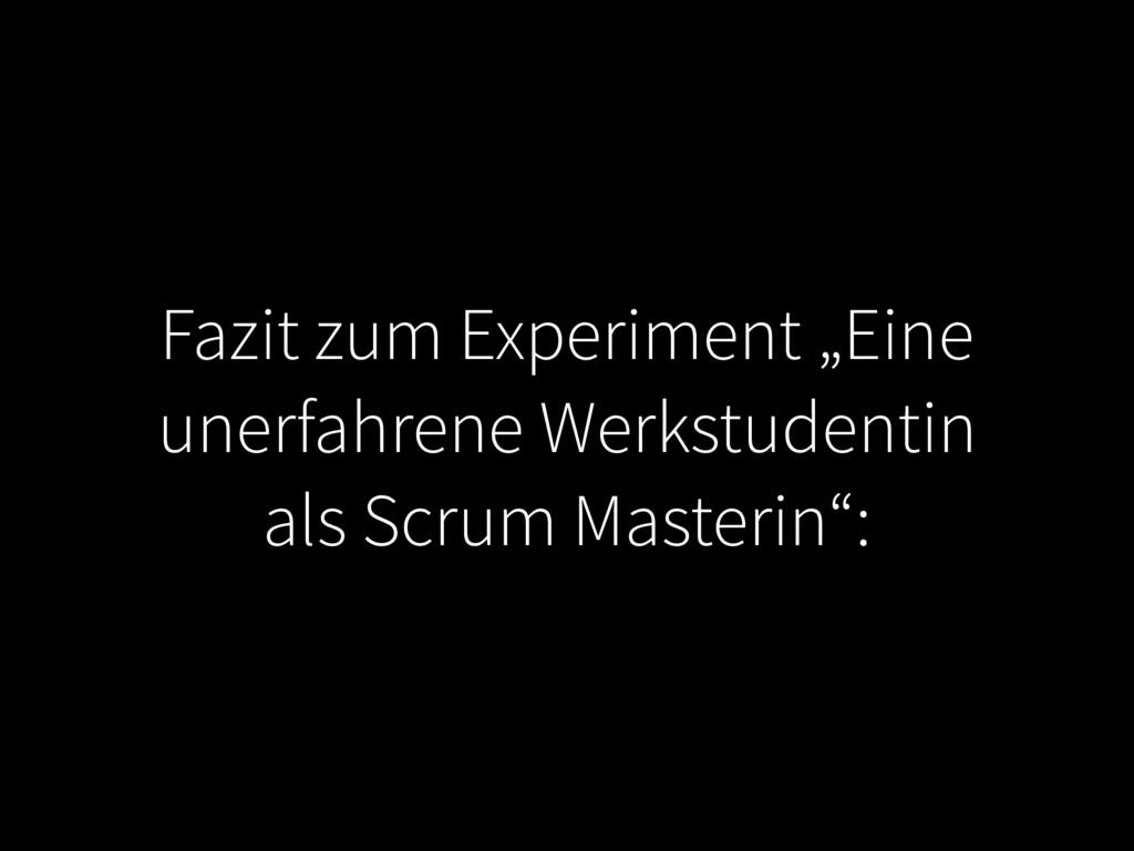 """Fazit zum Experiment """"Eine unerfahrene Werkstud..."""