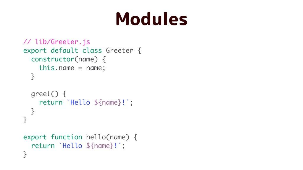 Modules // lib/Greeter.js export default class ...