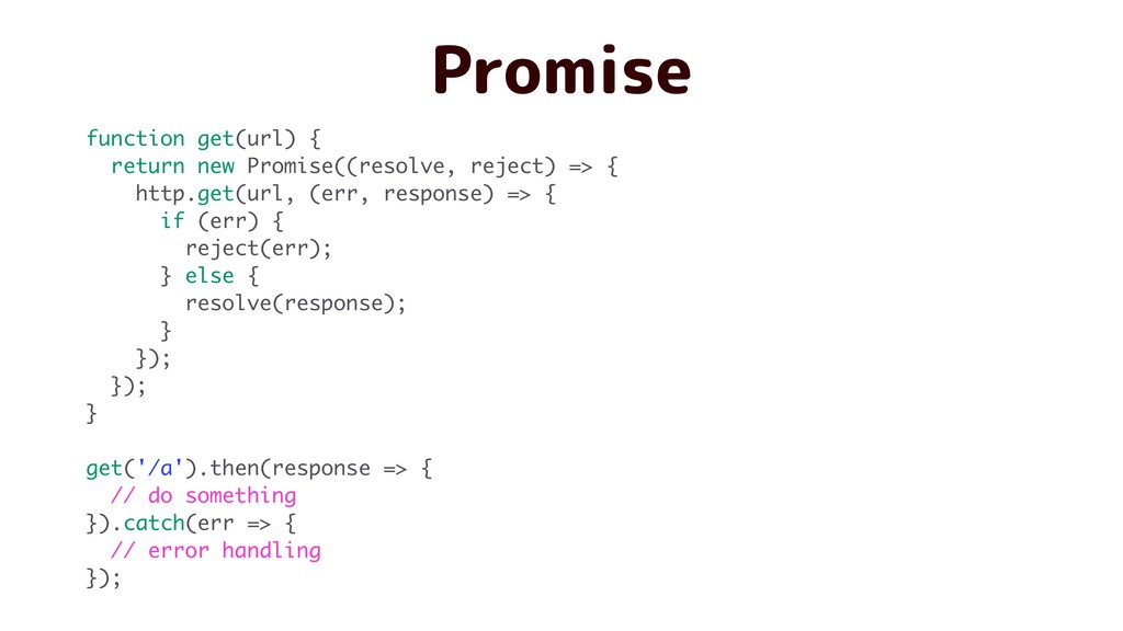 Promise function get(url) { return new Promise(...