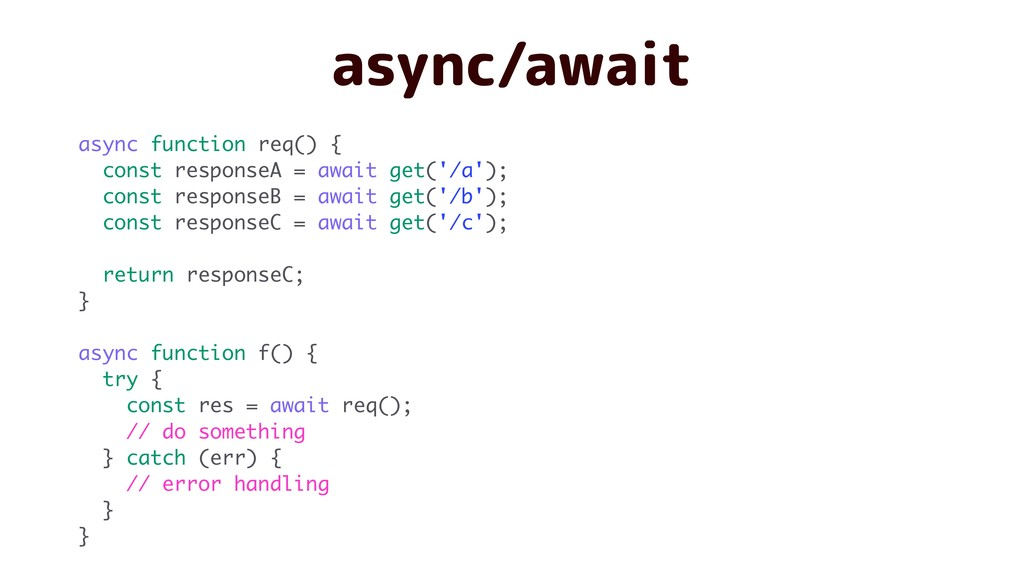 async/await async function req() { const respon...