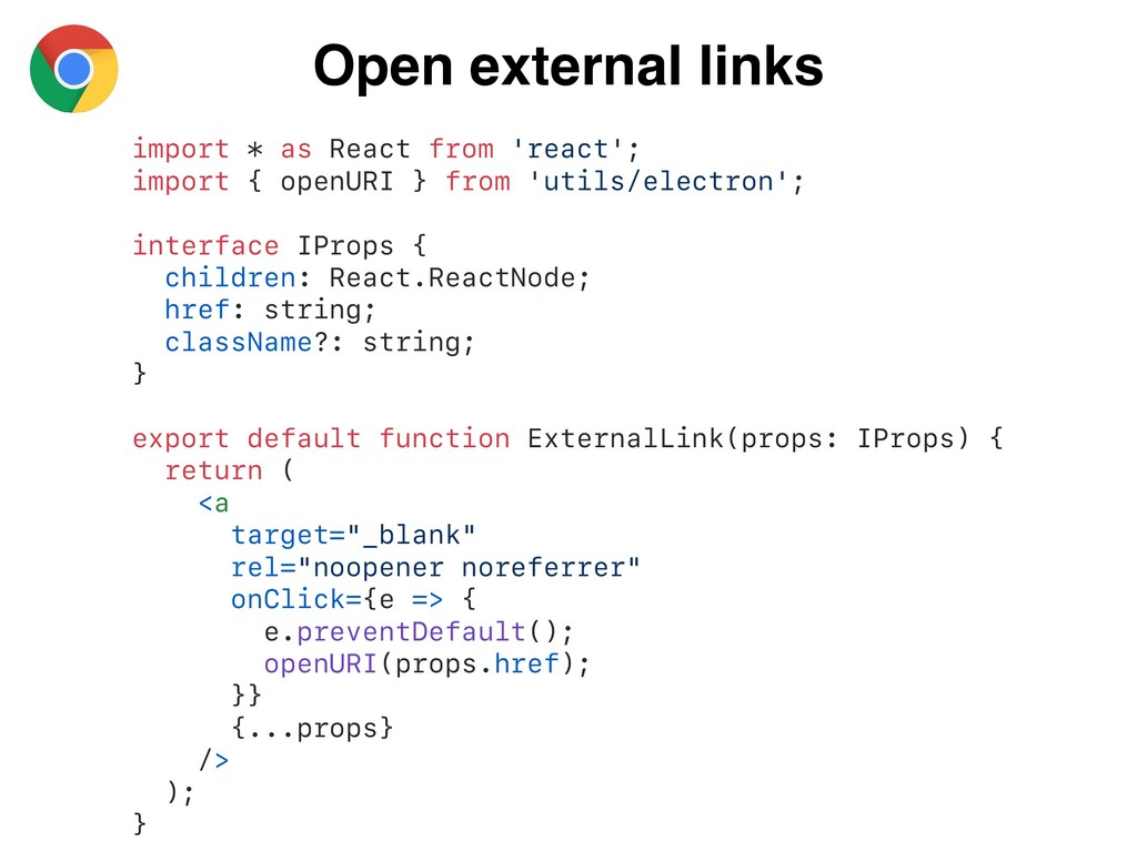 Open external links import * as React from 'rea...