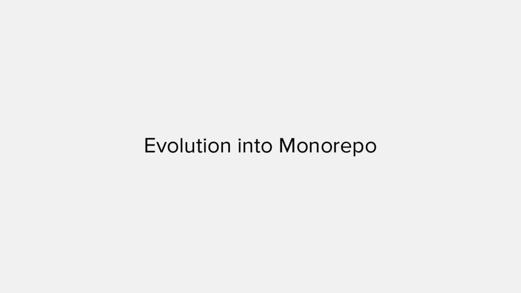 Evolution into Monorepo
