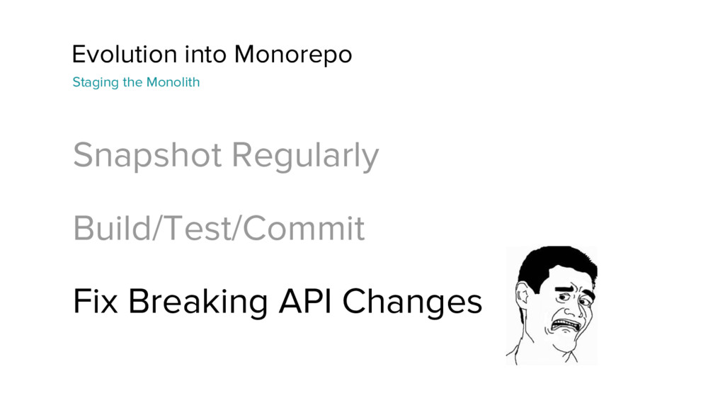 Evolution into Monorepo Snapshot Regularly Buil...