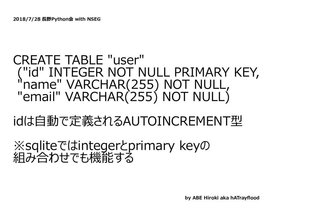 """2018/7/28 ⻑野Python会 with NSEG CREATE TABLE """"use..."""