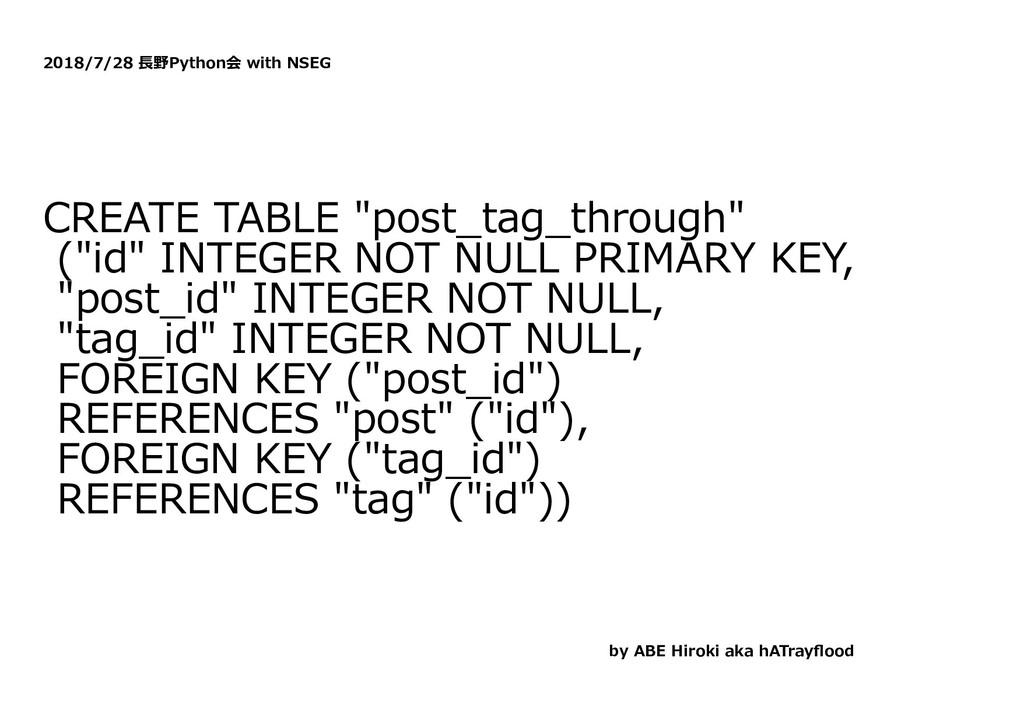 """2018/7/28 ⻑野Python会 with NSEG CREATE TABLE """"pos..."""