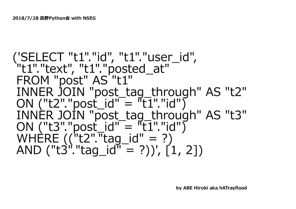 """2018/7/28 ⻑野Python会 with NSEG ('SELECT """"t1"""".""""id..."""