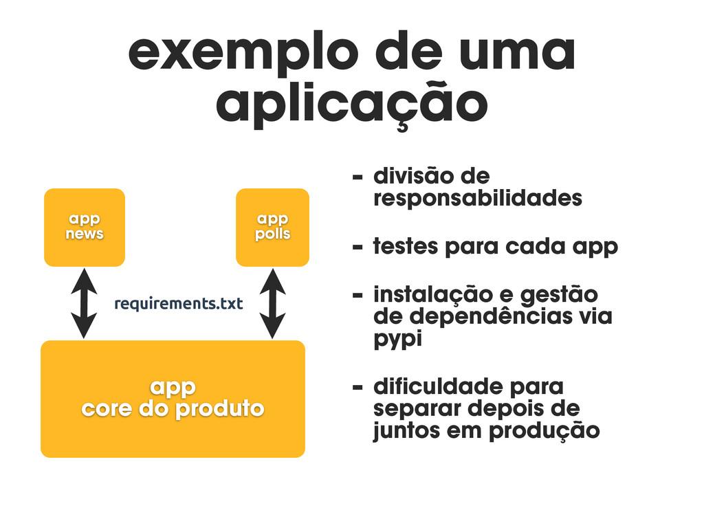 exemplo de uma aplicação - divisão de responsab...
