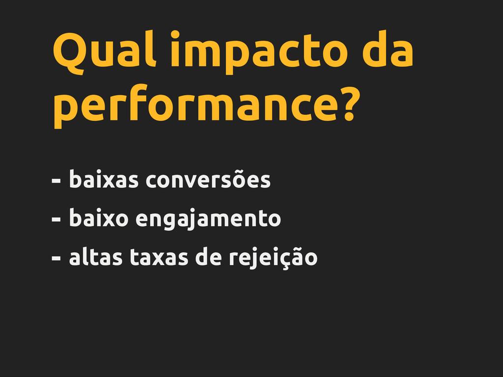 Qual impacto da performance? - baixas conversõe...