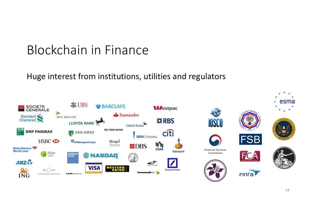 Blockchain in Finance Huge interest from instit...