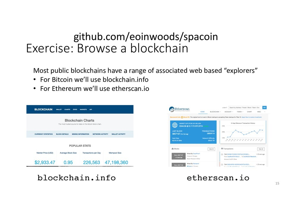 Exercise: Browse a blockchain blockchain.info M...