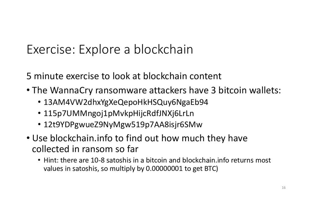 Exercise: Explore a blockchain 5 minute exercis...