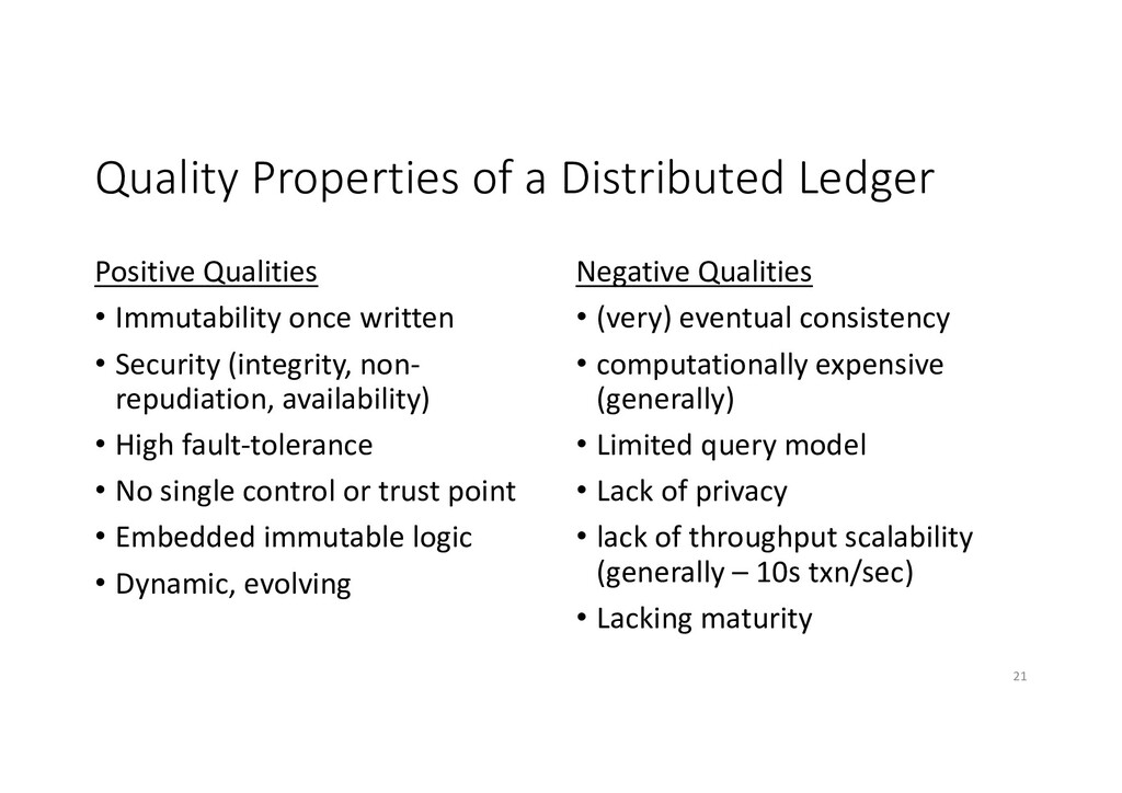 Quality Properties of a Distributed Ledger Posi...