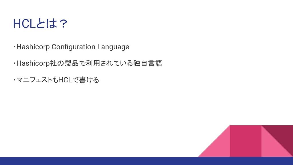 HCLとは? ・Hashicorp Configuration Language ・Hashic...