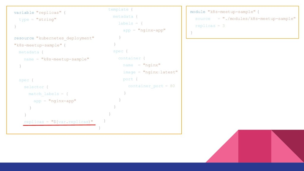 "module ""k8s-meetup-sample"" { source = ""./module..."