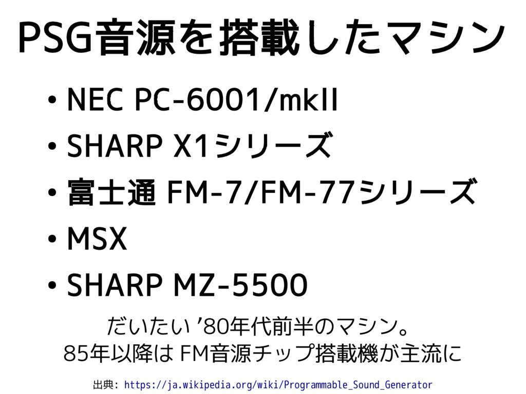 ● NEC PC-6001/mkII ● SHARP X1シリーズ ● 富士通 FM-7/FM...