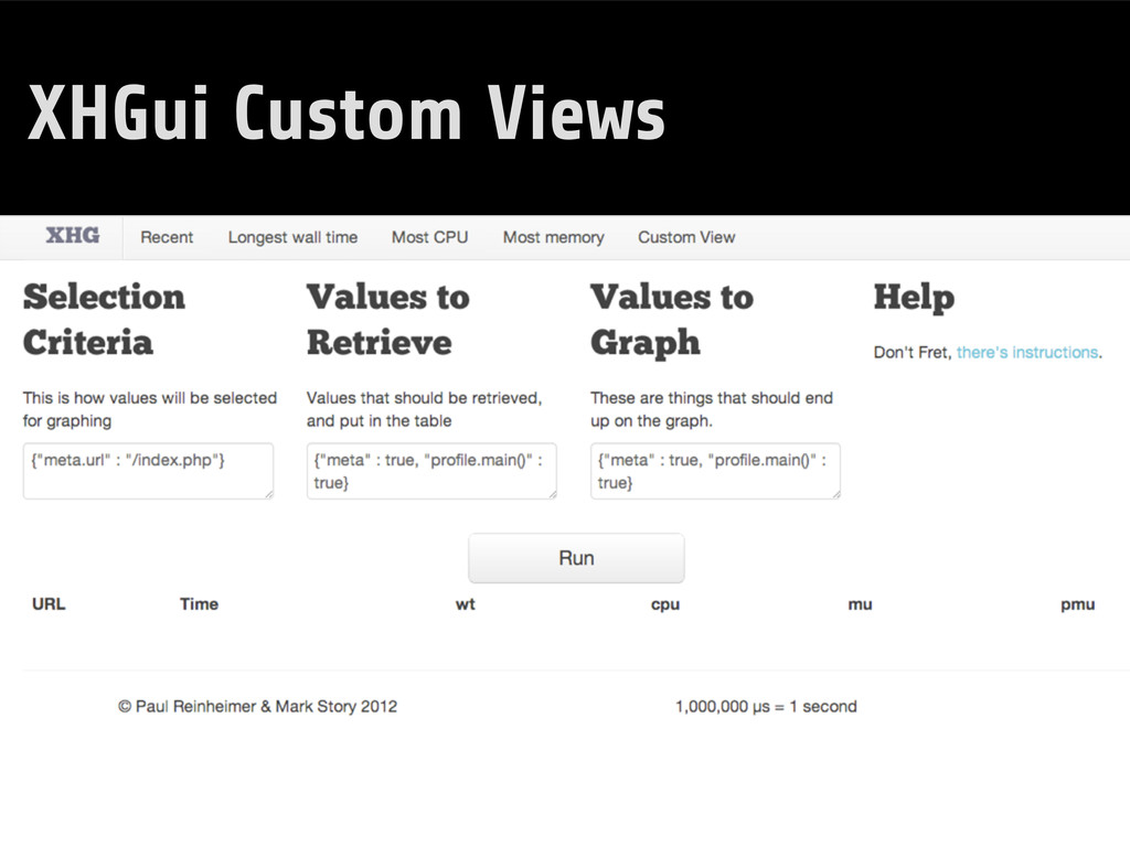 XHGui Custom Views