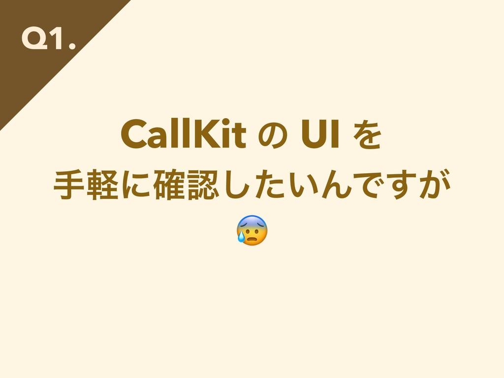 CallKit ͷ UI Λ खܰʹ͍֬ͨ͠ΜͰ͕͢  Q1.
