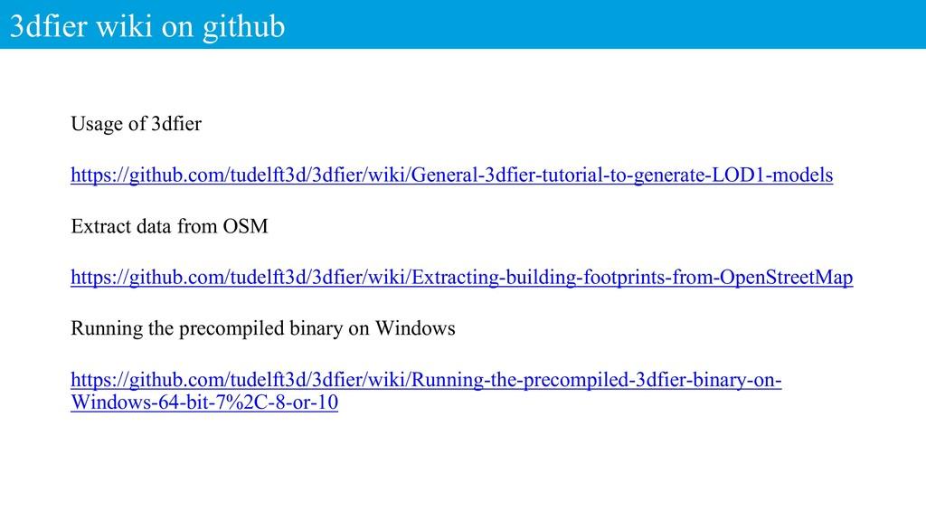 3dfier wiki on github Usage of 3dfier https://g...
