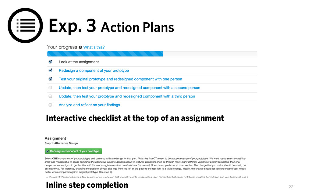 Exp. 3 Action Plans Interactive checklist at th...