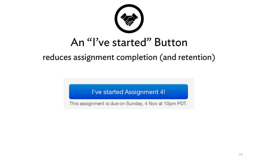 """An """"I've started"""" Button reduces assignment com..."""