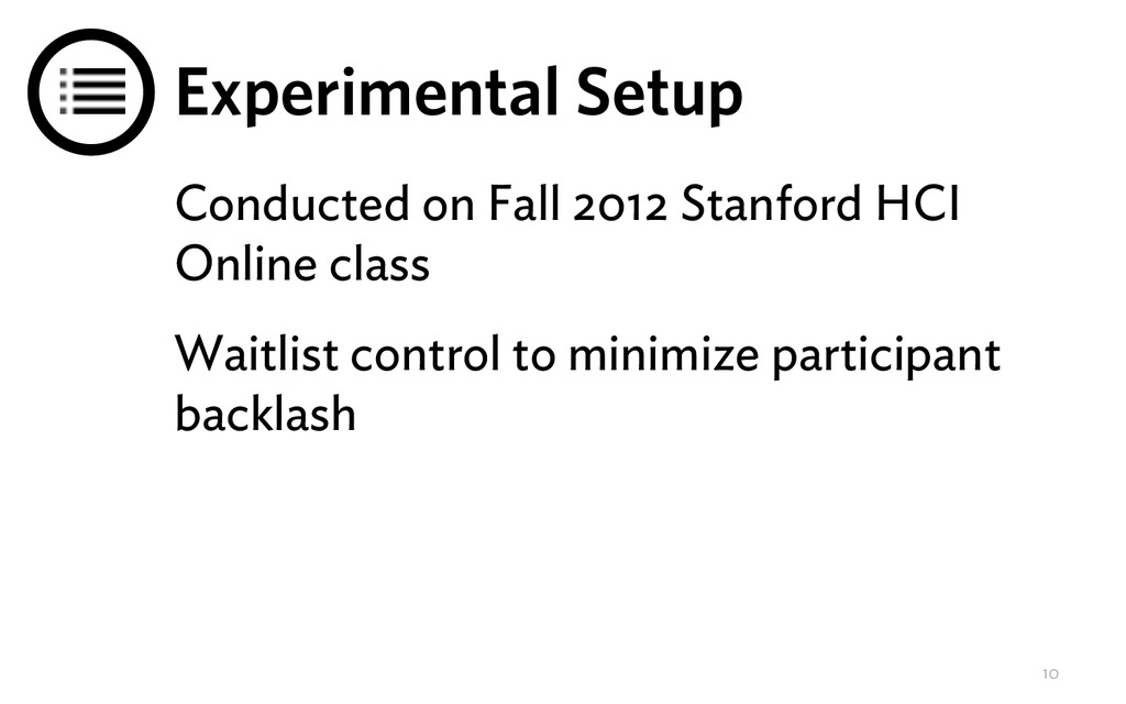Experimental Setup Conducted on Fall 2012 Stanf...