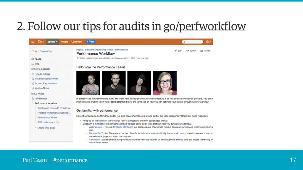 Perf Team #performance 2. Follow our tips for a...