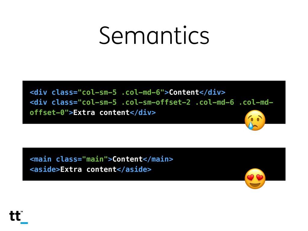 """Semantics <div class=""""col-sm-5 .col-md-6"""">Conte..."""