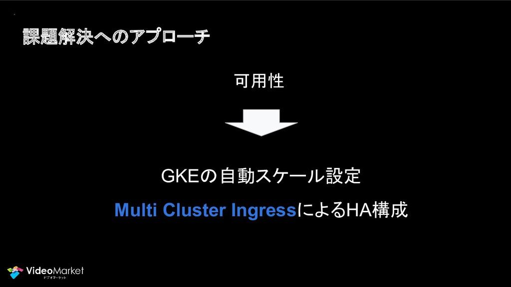 課題解決へのアプローチ GKEの自動スケール設定 Multi Cluster Ingressに...